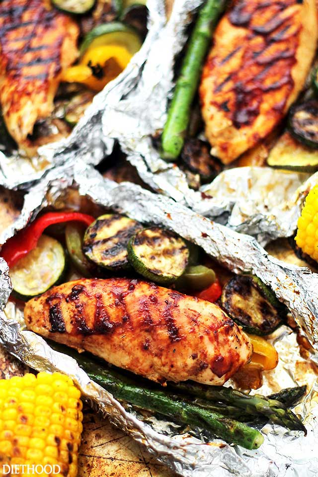 Grilled Barbeque Chicken and Vegetables in Foil