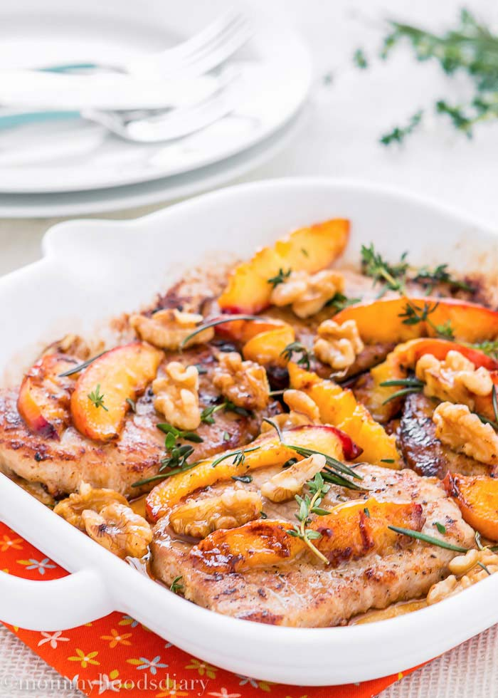Grilled Pork Chops with Peaches and Walnuts