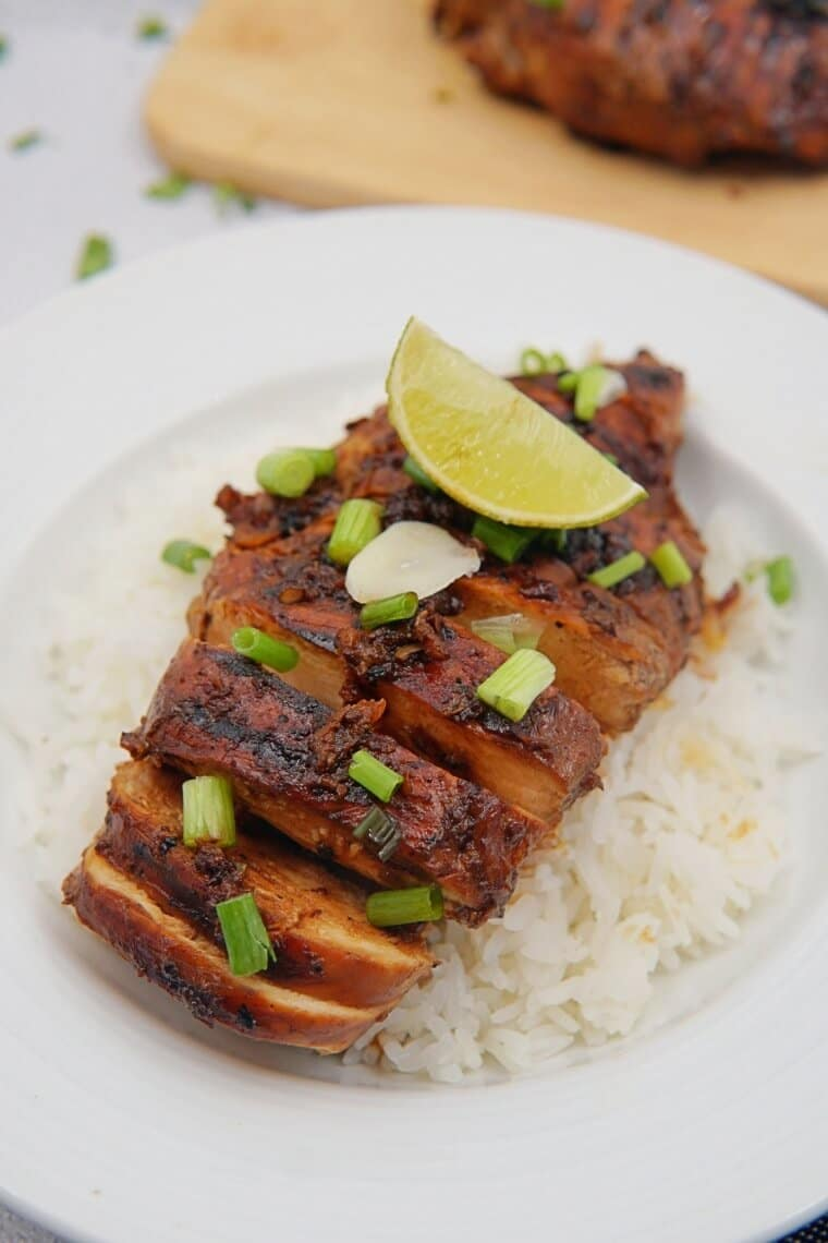 Grilled Honey and Garlic Chicken on the rice